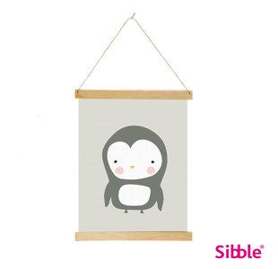 Digitale poster Pinguin - grijs